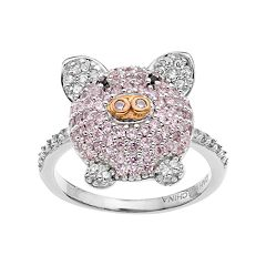 Sophie Miller Two Tone Sterling Silver Cubic Zirconia Pig Ring