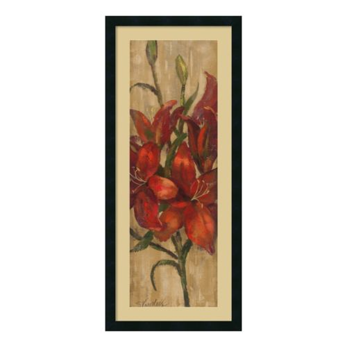 Amanti Art Vivid Red Lily On Gold Framed Wall Art