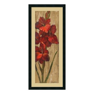 Amanti Art Vivid Red Gladiola On Gold Framed Wall Art