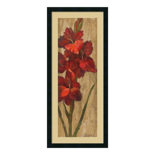Amanti Art Vivid Red Gladiola On Gold Framed Wall Art