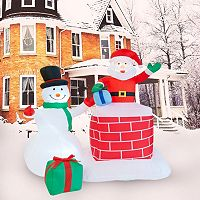 Santa & Snowman Inflatable Lawn Decor