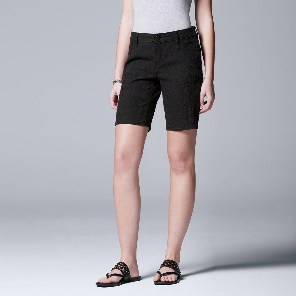 Women's Simply Vera Vera Wang Floral Jacquard Bermuda Shorts
