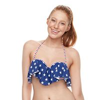 Mix-and-Match Stars & Stripes Push Up Flounce Bikini Top