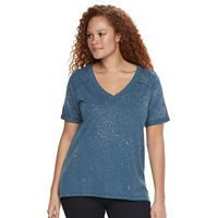 Plus Size Rock & Republic® High-Low V-Neck Tee