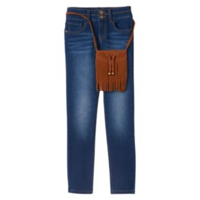 Girls 7-16 & Plus Size Mudd® Stacked Skinny Jeans & Purse Set