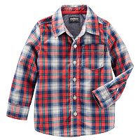 Boys 4-8 OshKosh B'gosh® Red Plaid Button-Down Poplin Shirt