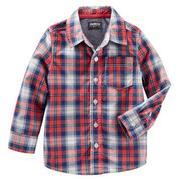Boys 4-8 OshKosh B'gosh® Red Plaid Button-Down Poplin Shirt