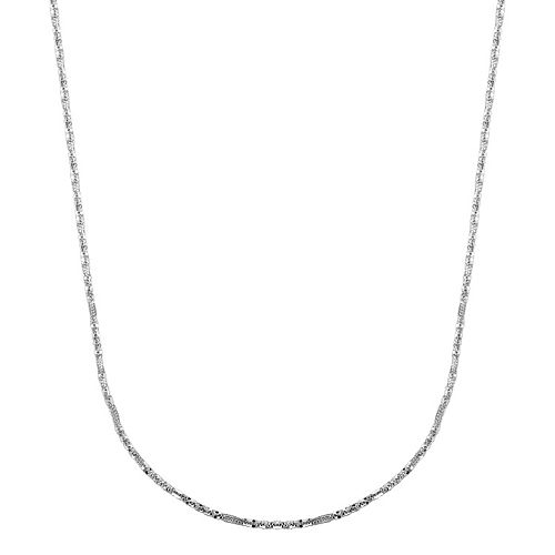 Everlasting Gold 14k White Gold Crisscross Chain Necklace - 18 in.