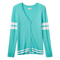 Girls Plus Size SO® Perfectly Soft Button-Down Varsity Cardigan