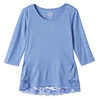 Girls Plus Size SO® Lace Flounce-Hem Tee