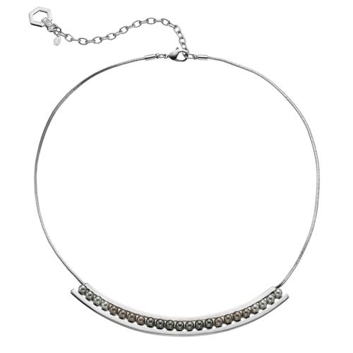 Simply Vera Vera Wang Gray Simulated Pearl Curved Bar Necklace