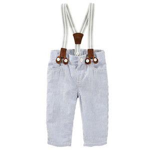 Baby Boy OshKosh B'gosh® Suspender Seersucker Hickory Striped Pants