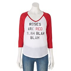 Juniors' 'Roses Are Red' Raglan Graphic Tee