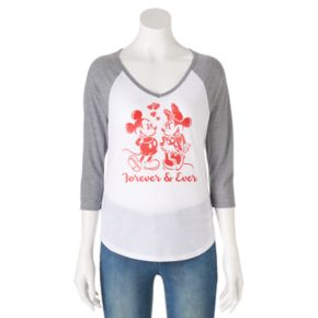 """Disney's Juniors' Mickey & Minnie Mouse """"Forever"""" Raglan Graphic Tee"""