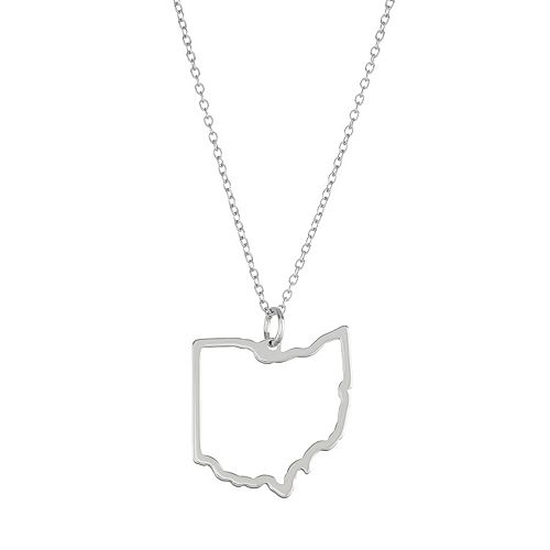 Sterling Silver Cutout State Pendant Necklace