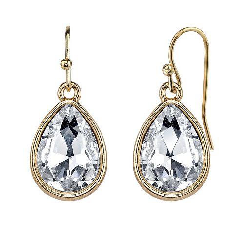 1928 Simulated Crystal Teardrop Earrings