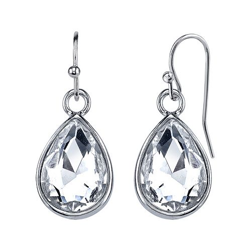 1928 Simulated Crystal Teardrop Earrings