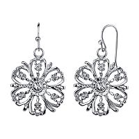 1928 Openwork Flower Drop Earrings