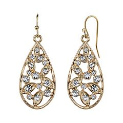 1928 Simulated Crystal Cluster Openwork Teardrop Earrings