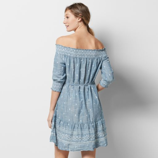 Women's SONOMA Goods for Life™ Off-the-Shoulder Chambray Shift Dress