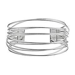 Crisscross Wire Multi Row Cuff Bracelet