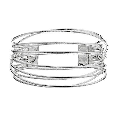 Crisscross Wire Multi Row Cuff Bracelet