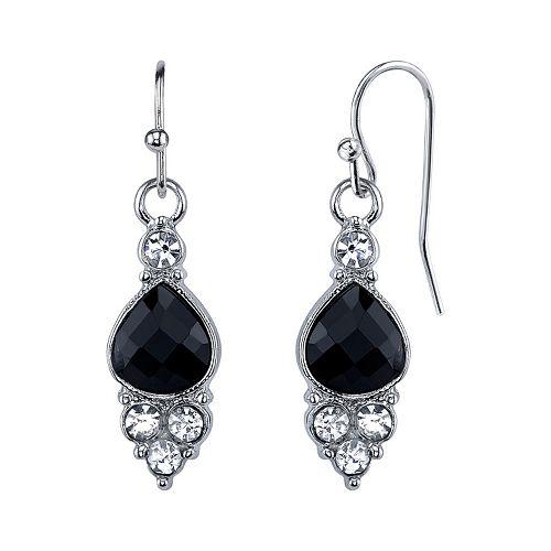 1928 Black Teardrop Cluster Nickel Free Earrings