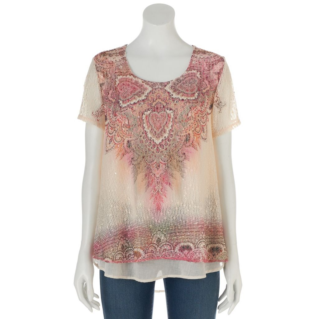 Women's World Unity Print Crochet Tee