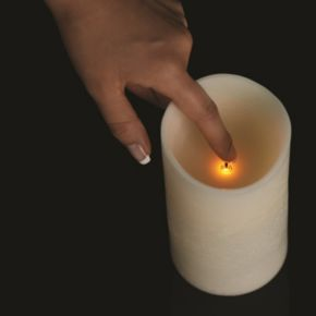Matchless Candle Co. PushWick 3'' x 6'' Unscented Shell-Embedded Flameless LED Candle