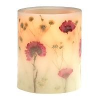 Matchless Candle Co. PushWick 3'' x 4'' Unscented Flower-Embedded Flameless LED Candle