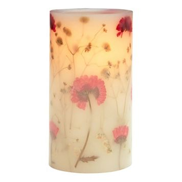 Matchless Candle Co. PushWick 3'' x 6'' Unscented Flower-Embedded Flameless LED Candle