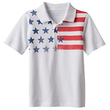 Boys 4-10 Jumping Beans® Stars & Stripes Yoke Pique Polo Shirt