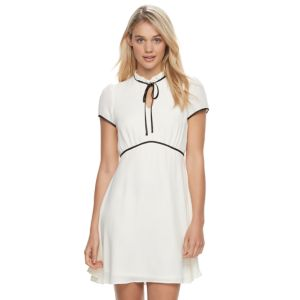 Juniors' Jolie Vie Ruffle Mockneck A-Line Dress