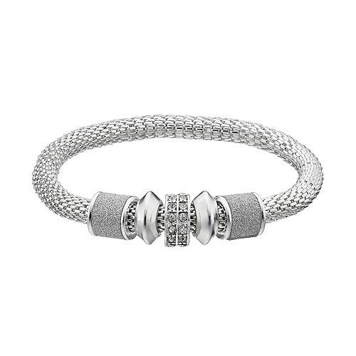 Glittery Beaded Mesh Bangle Bracelet