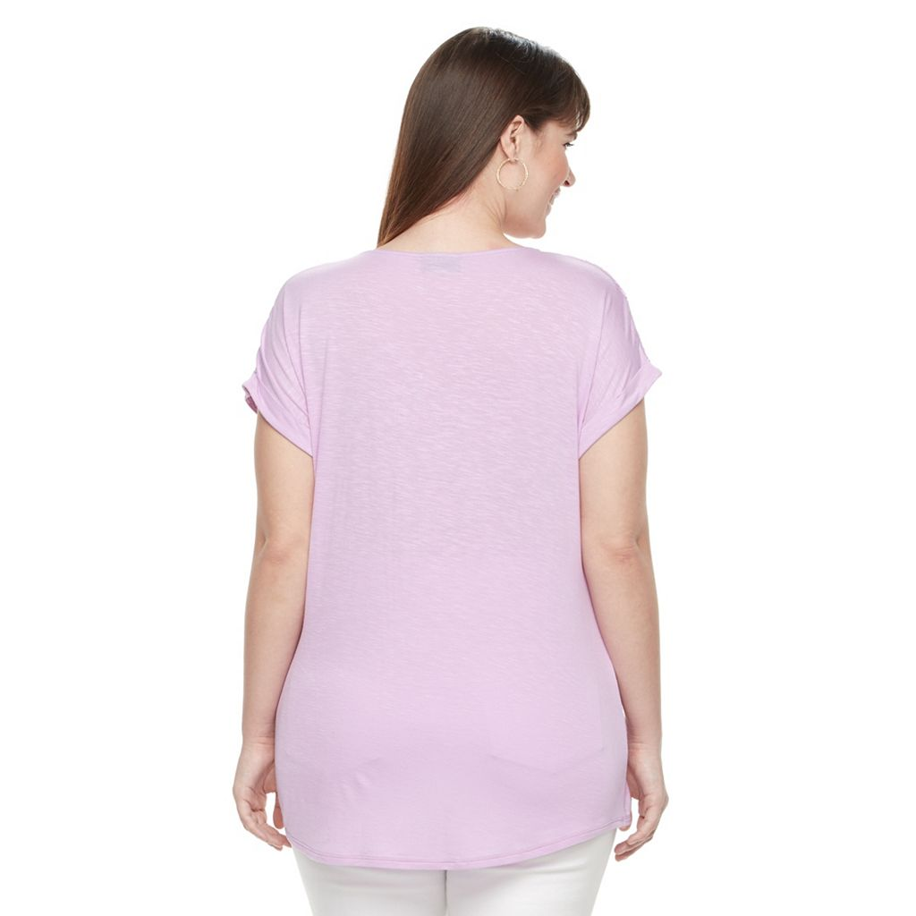 Plus Size Apt. 9® Lace-Trim V-Neck Tee