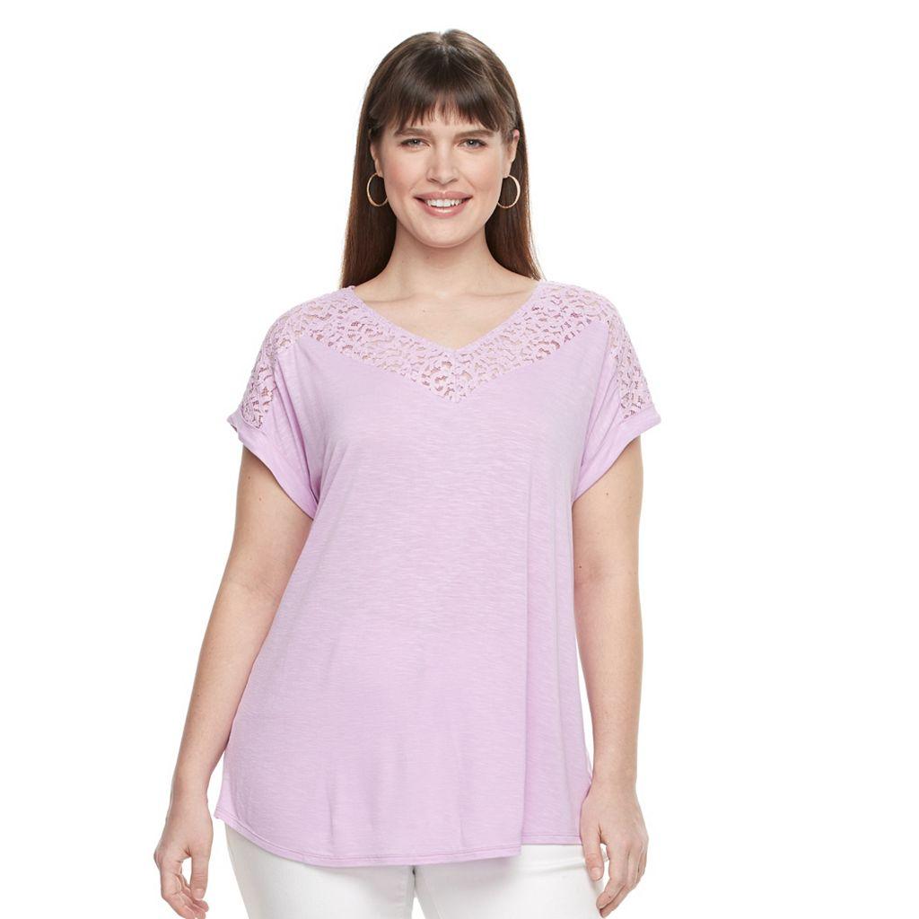 Plus Size Apt. 9® Lace-Trim V-Neck Tee