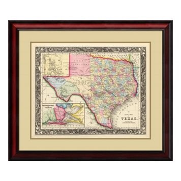 Amanti Art County Map Of Texas, 1860 Framed Wall Art