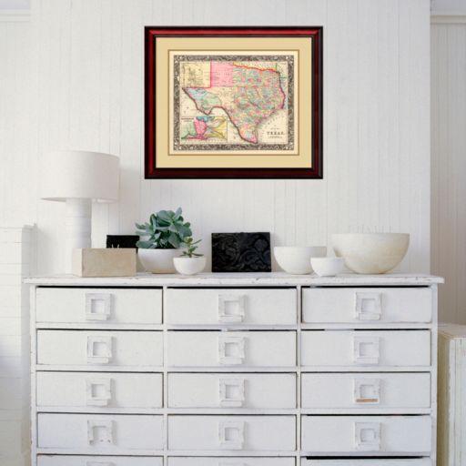 Amanti Art County Map Of Texas, 1860 Framed Wall Art