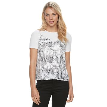 Juniors' Jolie Vie Slip Crop Top & Ribbed Tee