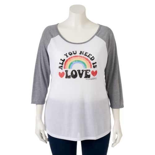 "Juniors' Plus Size ""All You Need Is Love"" Raglan Graphic Tee"