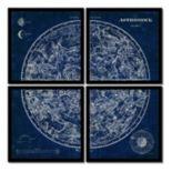Amanti Art Celestial Blueprint Quad Framed Wall Art 4-piece Set