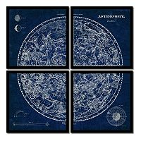 Amanti Art Celestial Blueprint Quad Framed Wall Art 4-piece Set
