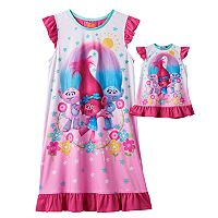 Girls 4-12 DreamWorks Trolls Poppy, Satin & Chenille Dorm Nightgown & Doll Gown Set