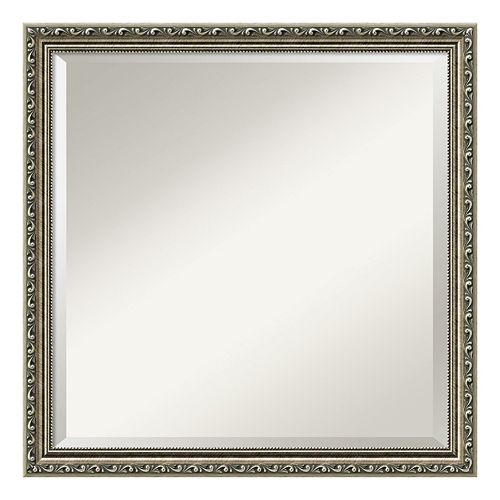 Amanti Art Silver Leaf Finish Square Wall Mirror