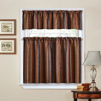 Traditions by Waverly Stripe Ensemble Tier & Valance Set