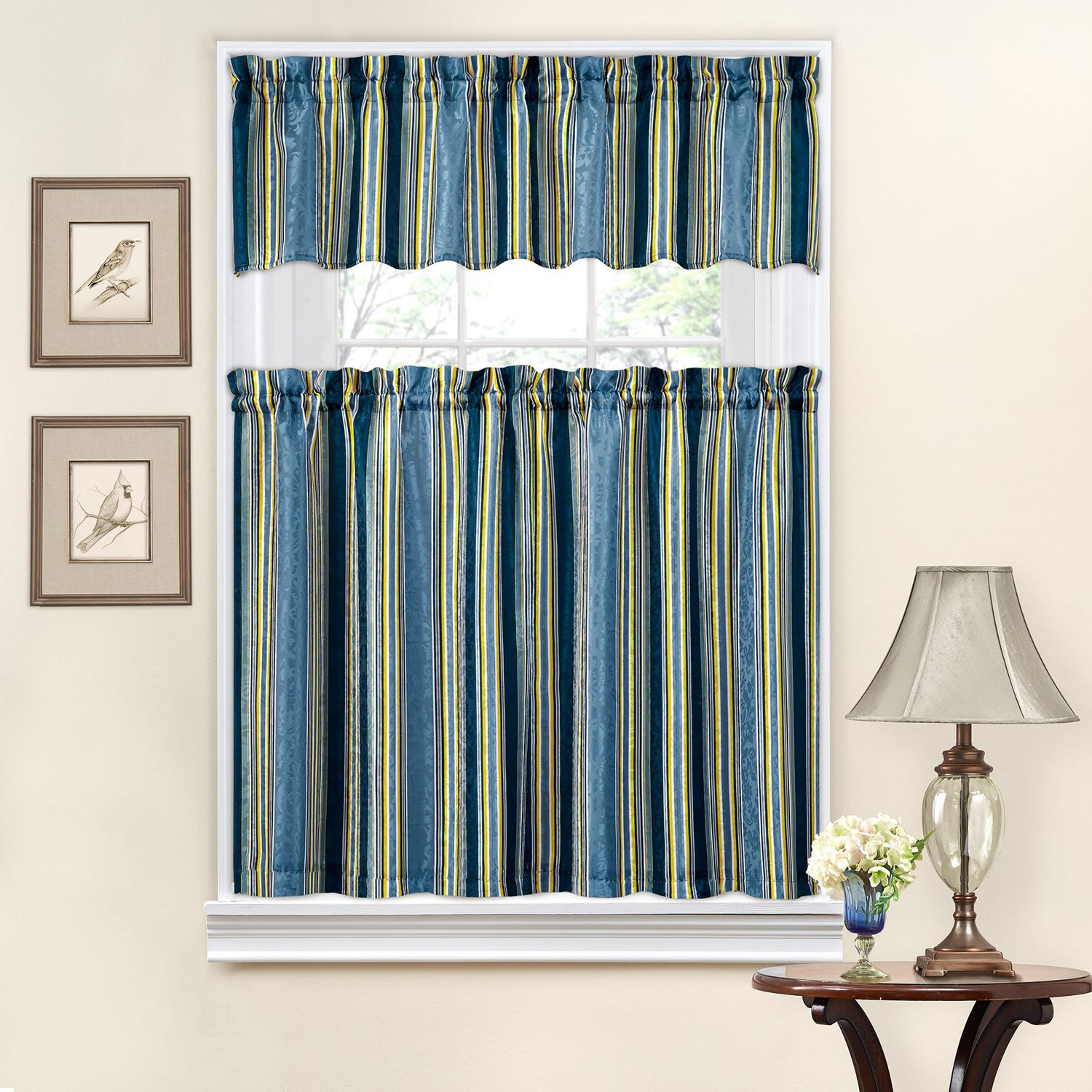 Traditions By Waverly Stripe Ensemble Tier U0026 Valance Kitchen Window Curtain  Set