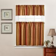 Traditions by Waverly Stripe Ensemble Tier & Valance Kitchen Window Curtain Set