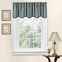 Traditions by Waverly Stripe Ensemble Scalloped Window Valance