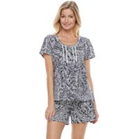 Women's Croft & Barrow® Pajamas: Petal Pusher Henley Tee & Shorts PJ Set