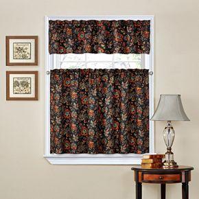 Traditions by Waverly Navarra Tier & Valance Kitchen Window Curtain Set